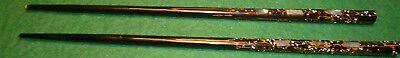 Two abalone or mother of pearl inlaid Chopsticks - AS IS