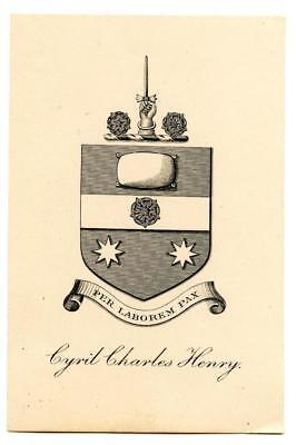 Early 1900s Engraved Bookplate Ex Libris Cyril Charles Henry Crest