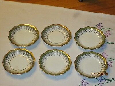 Set of 6 Gold on White Antique Butter Pat Plates Unknown Maker