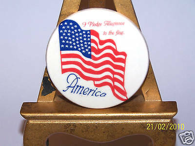Ceramic Patriotic American Flag & Pledge Of Allegiance Usa Refrigerator Magnet