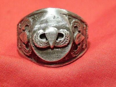 Rare WWII US Army Paratrooper Ring Airborne Sterling Kinney 11 1/2