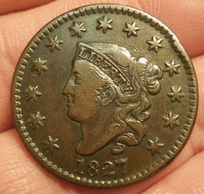 1827 Matron Head Large Cent - Nice Color & Detail - Nice Coin!!