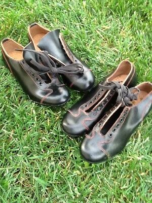 2 Pair MINTY Vintage Old Antique 1950's Black Leather AWESOME Baseball Cleats