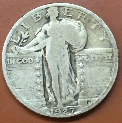 1927-S Standing Liberty Silver Quarter Original US Coin Key Date - TCC
