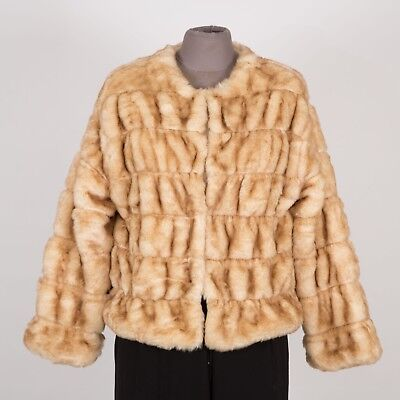 ZARA Knit Faux Fur Women's Cold Weather Jacket S Small Brown