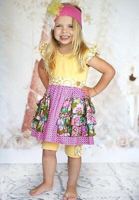 Giggle Moon NWT 2pc Floral Summer Set For Girls Size 8