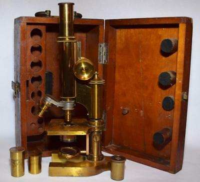 Antique Bausch & Lomb Microscope w Wood Storage Case - Brass Base/2 Objectives