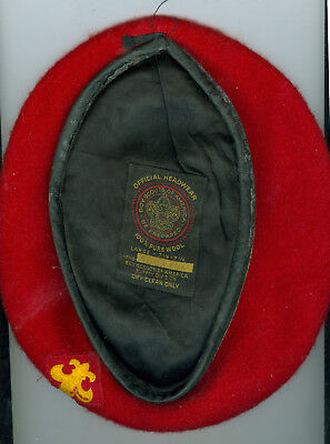 Older Official Boy Scout 100% Wool Red Beret -Size  LARGE