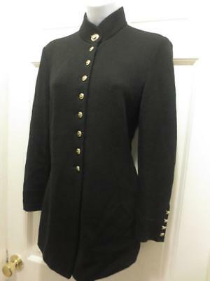 ST. JOHN  Marie Gray Black MILITARY INSPIRED Santana Knit  BLAZER Jacket 2 Small