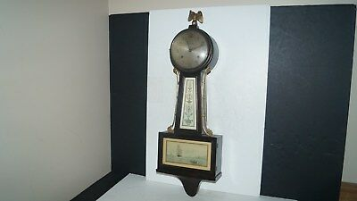 Antique New Haven Wall Banjo Clock 8 Day Whitney 1/2 Hr Strike w/ Chimes -WORKS!