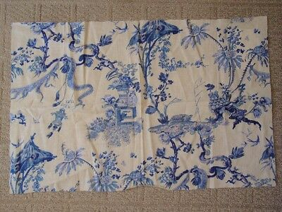 27x17 Hamilton UK Yosca Blue & White Oriental Chinoiserie Linen Fabric~NEW