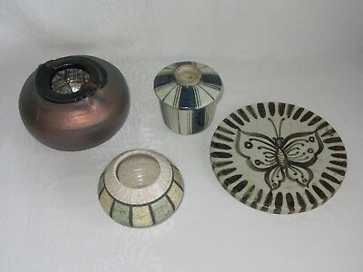 Lot of 4 Art Pottery Bowls Vase covered Container Jar Vtg Trivet Copper Crackle