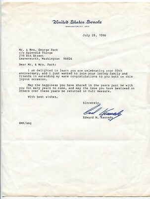 Ted Kennedy Signed Letter Typed Autographed Letter Edward Kennedy Signature
