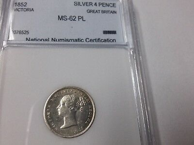 1854 Great Britain Victoria Silver 4 pence- Maundy