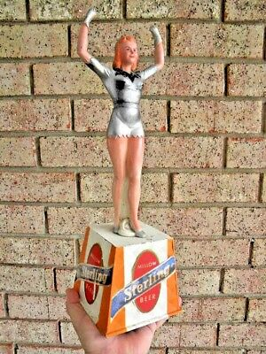 X Vintage STERLING BEER Pin Up Girl ADVERTISING DISPLAY Hand Bell - BREWERIANA