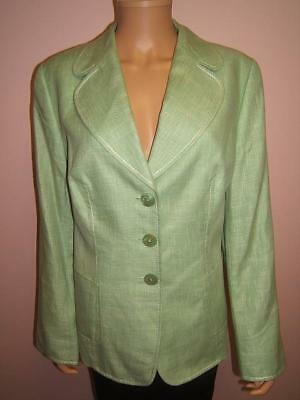 ESCADA 14 44 Pretty Green Designer Womens Wool Silk Linen Gorgeous Jacket  Blazer e1af3760b