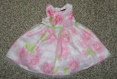 3fa02401ce8d Lilt Baby Girls Floral Dress Tulle Overlay Skirt Pink White Green 12 Months  EUC