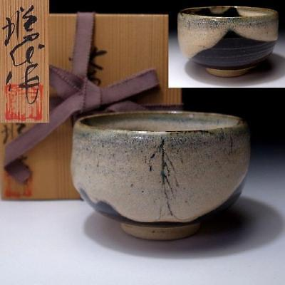 ZO6: Vintage Japanese Pottery Tea Bowl, Seto Ware,with Signed wooden box