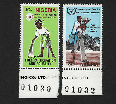 OPC 1981 Nigeria Year of the Disabled Set with Plate No. Sc#399-400 MNH 33485