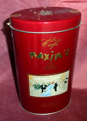 STUNNING VINTAGE FRENCH MAXIM's DE PARIS COLLECTIBLE FANCY RED METAL COFFEE TIN