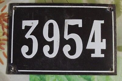 Large old black French house number 3954 door gate wall plate enamel metal sign