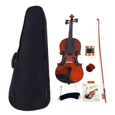 New Solid Wood Natural 4/4 Acoustic Violin + Fiddle Accessories for Beginner