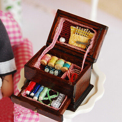Vintage Sewing Needlework Needle Kit Box 1:12 Dollhouse Miniature Mini Decor WF
