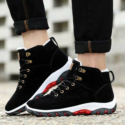 Mens Plush Outdoor Climbing Sneakers Winter Warm Snow Ankle Boots Thick Shoes r8