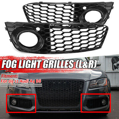 2x Honeycomb Mesh Fog Light Vent Grill Grille RS4 Style For AUDI A4 B8 2009-2012