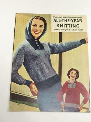 """VINTAGE """"WOMAN'S WEEKLY"""" KNITTING BOOKLET All-The-Year Knitting 1950s"""