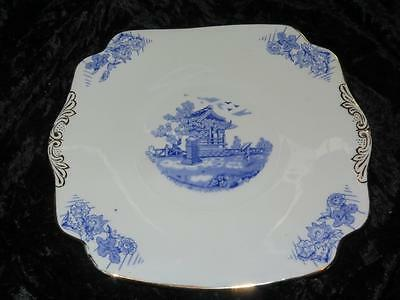 VINTAGE CHINA CAKE PLATE Blue & White D.547 BALFOUR ROYAL CROWN POTTERY 1950s
