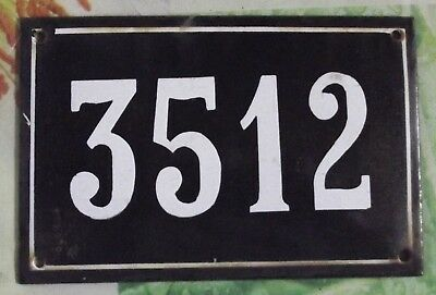 Large old black French house number 3512 door gate wall plate enamel metal sign
