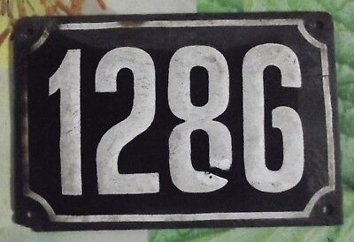 Large old black French house number 1286 door gate wall plate enamel metal sign