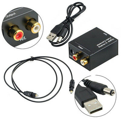 3.5mm Digital Coax Optical SPDIF Toslink to Analog RCA Audio Adapter Converter