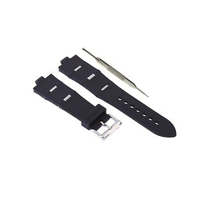 8x24mm Black Silicone Rubber Watch Strap Band Fits For Bvlgari Diagono W/ Tool