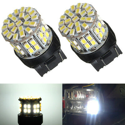 2x T20 7443 W21/5W 1206 LED 50-SMD Car Tail Stop Brake Light Bulb Lamp White 12V