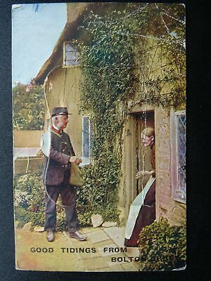 Yorkshire BOLTON Novelty Pull-out ROYAL MAIL POSTMAN c1916 Postcard