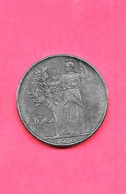 Italy Italian Km96.1 1976 Unc-Uncirculated Mint Old Large 100 Lire Coin