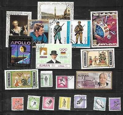 Ajman 20 Different Pictorial Stamp Collection Lot Set Packet Inc Mini