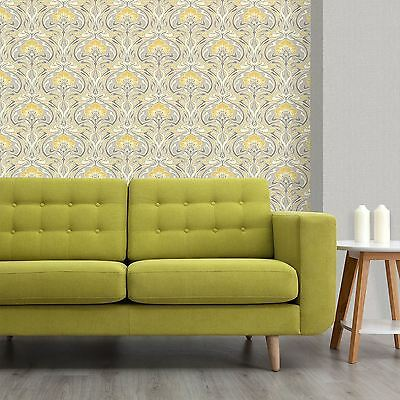 Archives Flora Nouveau Wallpaper Yellow - Crown M1195 Retro Floral
