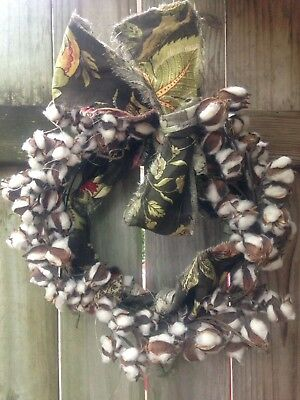 """Braemore Country Rustic Fabric Cotton Boll Twisted Vine Wreath With Bow 17"""""""