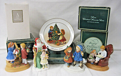 4 Vintage Avon Christmas Porcelain Figurines 1981, 83, 84, 95 Holiday Plate 1982