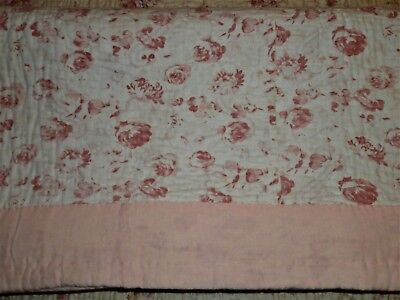 "Devine Antique French Quilt Boutis Roses All Over Pink & Antique White 69""x 61"""