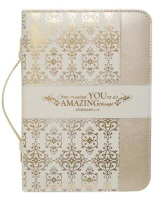 Ephesians 2:10, Bible Cover, Cream and Gold, X-Large
