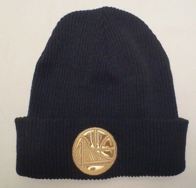 new style 8b05f 3e449 Mitchell   Ness Nba Foil Leather Beanie Cap Hat Golden State Warriors Nwot
