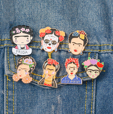 Mexico Frida Kahlo Series Enamel Pin Day of The Dead Frida Kahlo Flower Crown A