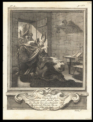 St Jacobus of Nisibis 1725 German Engraving of The Solitary or Hermit Saints