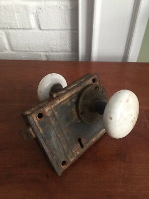 Antique~~White PORCELAIN DOOR KNOB SET w Mortise Lock Hardware