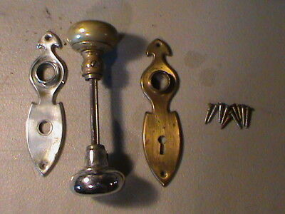 Vintage Antique Brass Door Knob Set w/ Face Plates + Screws