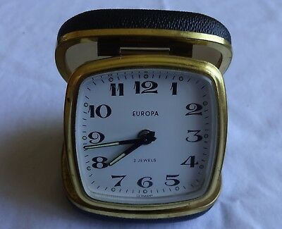 Vintage Europa 2 Jewels Travel Alarm Clock Hard Black Case Made In Germany